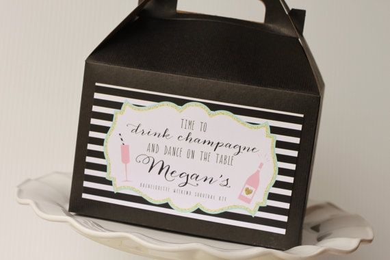 Set 10 Black Gable Boxes with Label- Black and White Stripe- Bachelorette Survival Kit - drink champagne dance on table