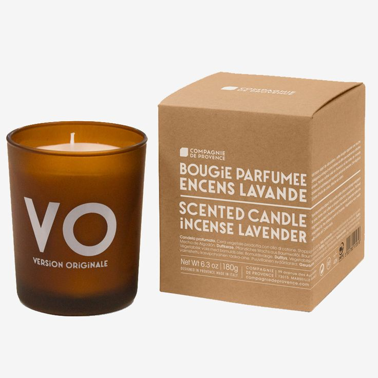 Compagnie de Provence VO Incense Lavender Scented Candle: Compagnie De Provence VO, Incense Lavender scented candle. A boxed pure vegetable wax candle fragranced with the scent of woody lavender and amber infused Incense. The wax is poured into a stylish, contemporary amber glass jar which can be reused as required. A refined fragrance created in Provence where the woody Lavender notes are magnified by the ambery scent of Incense.
