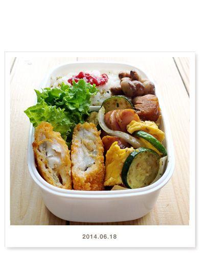 タラフライ リーフレタス ズッキーニとウインナーの卵炒め(ズッキー二・ウインナー・玉ねぎ・卵・ごま) 虎豆の煮豆 ごはん(わさびふりかけ・梅干し)