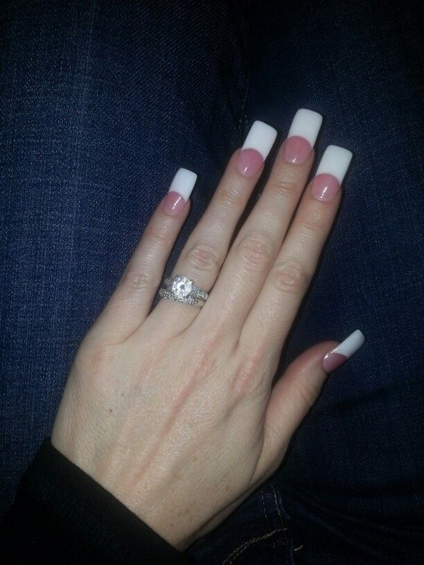 pink & white square acrylic nails