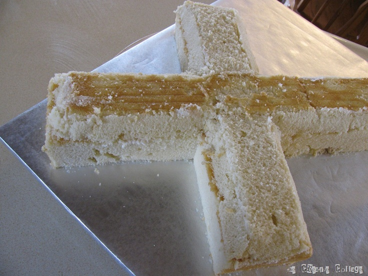 Making a Cross Cake    Looks easy and fun