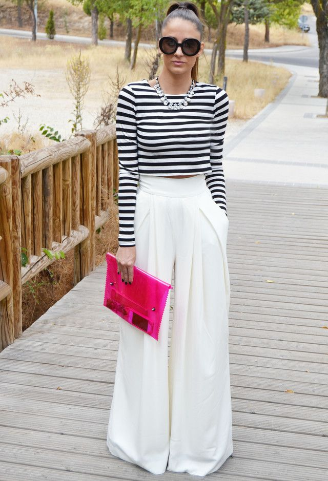 White & Stripes? There's NO wrong here! High waisted pants make Crop Tops easier to wear. Love this Look.