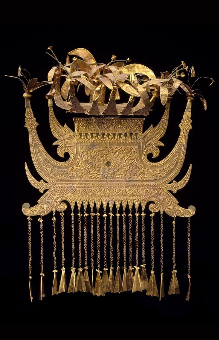 Indonesia ~ Sumatra  | Headdress; gold and gold foil | Minangkabau | Late 19th to early 20th century