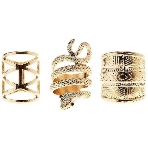Charlotte Russe Coiled Snake & Aztec Rings - 3 Pack featuring polyvore, fashion, jewelry, rings, accessories, gold, cage ring, aztec ring, aztec jewelry, geometric ring and cut out ring