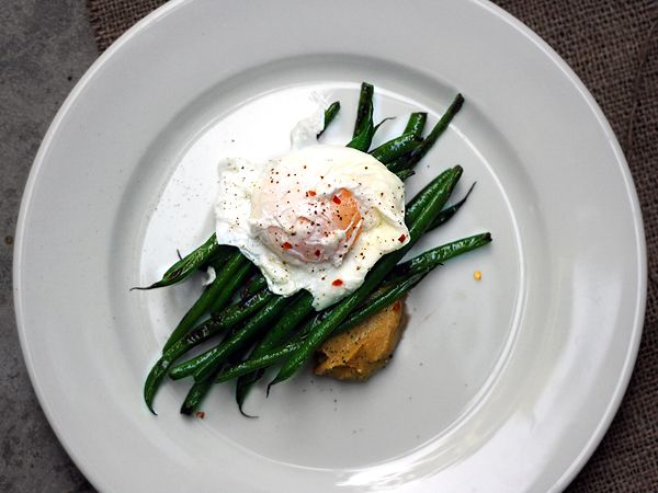 // Miso Butter Poached Eggs Green Beans