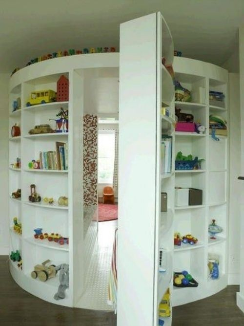 A secret room. | 32 Things That Belong In Your Child's Dream Room ~ another cute idea to go from a kid's room to a playroom.