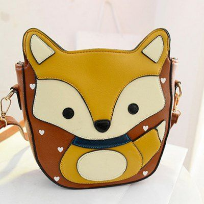 Cute Fox Pattern and Heart Shape Design Women's Crossbody Bag