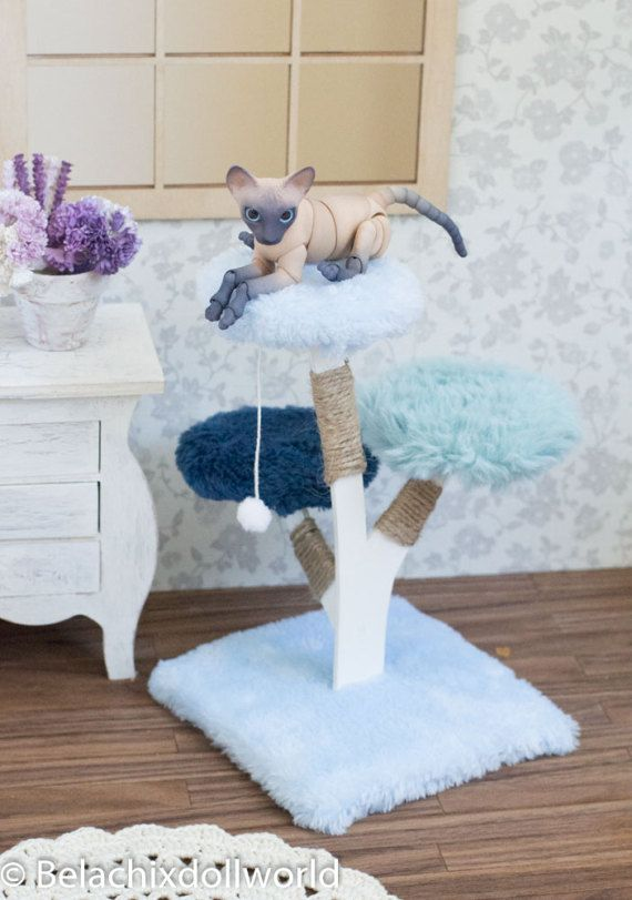 BJD cat 1/4 cat tree climbing scratching post by BelachixDollWorld