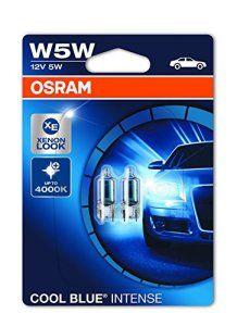 OSRAM COOL BLUE INTENSE W5W Halogène Rear Position et Plaque d'Immatriculation Light 2825UHCBI-02B 12V Blister Double Set de 2