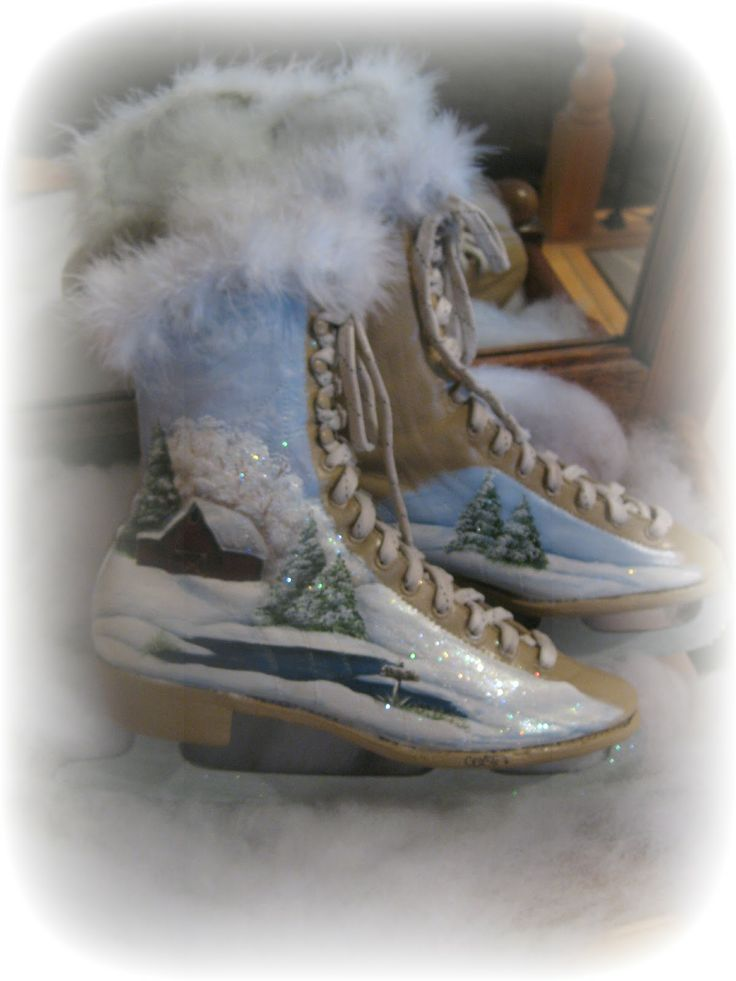 Vintage hand painted ice skates - I must like the fur at the top, I keep pinning skates with fur