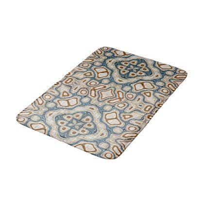 Ochre Brown Teal Blue Oriental Bali Batik Pattern Bathroom Mat - cyo customize create your own #personalize diy