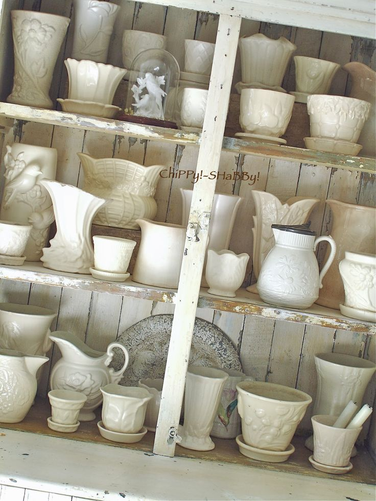 Collection of white cream McCoy pottery.