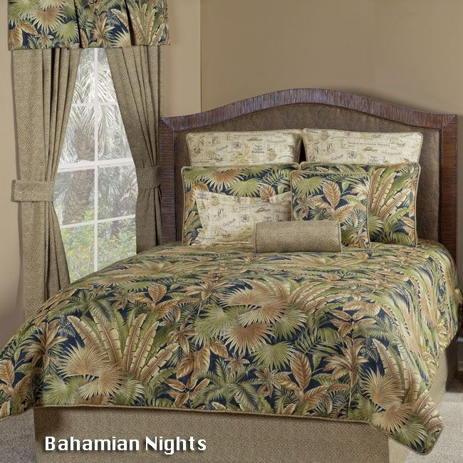 Bahamian Coffee Tropical Bedding Comforter Set & Accessories Featuring Tommy Bahama Fabric