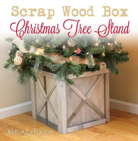 weathered scrap wood crate christmas tree stand - Christmas Tree Storage Ideas