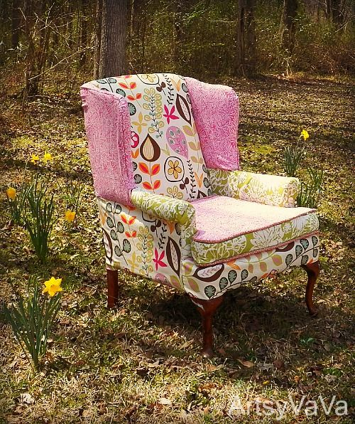 Revive an oh-so-blah armchair with fun & funky modern fabrics.