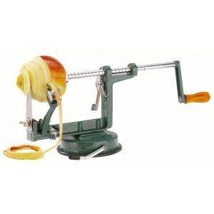 Appelschilmachine Westmark € 29,95 Deze appelschiller biedt 3 functies in één: het apparaat schilt, snijdt en ontkernt een appel tegelijkertijd. De appelschiller is ook geschikt voor aardappels. De zuigvoet houdt de appelschiller stevig op zijn plaats.  Merk Westmark Kleur Groen Hoogte 13.3 cm Breedte 32.5 cm Diepte 11 cm Verpakking doos Materiaal Gietaluminium + Rvs