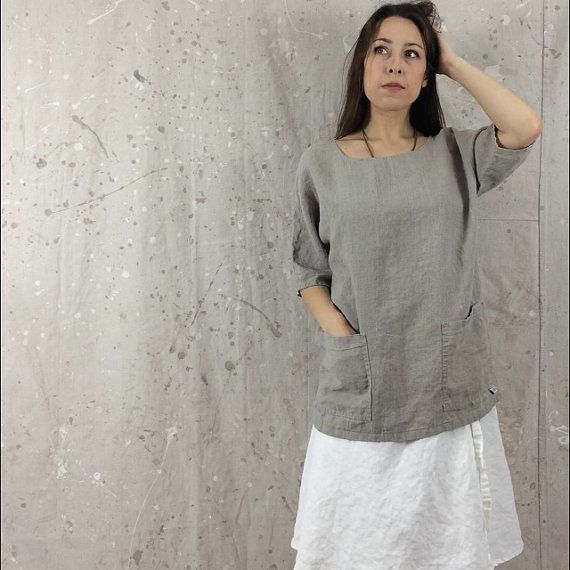 Loose Linen Top / Shirt / Tunic / Pockets от MissesCountry на Etsy