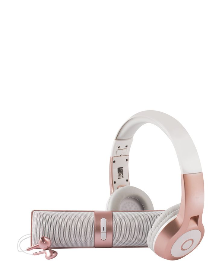 Metallic Rose Listen Up Bluetooth Audio Kit #rose gold #metallic #c21stores #headphones #electronics #gift idea #holiday #gift #gifts #christmas #tech #wireless headphones #beats