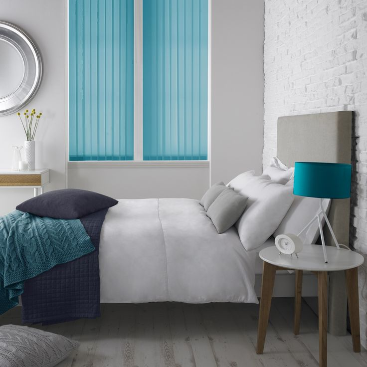 Style Studio Palette Vertical Blinds in Kingfisher. Blue symbolises loyalty and trust. Those who choose blue are considered confident and dependable