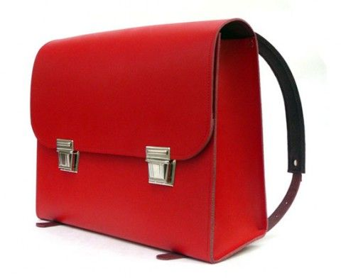 Bright red leather satchel :)