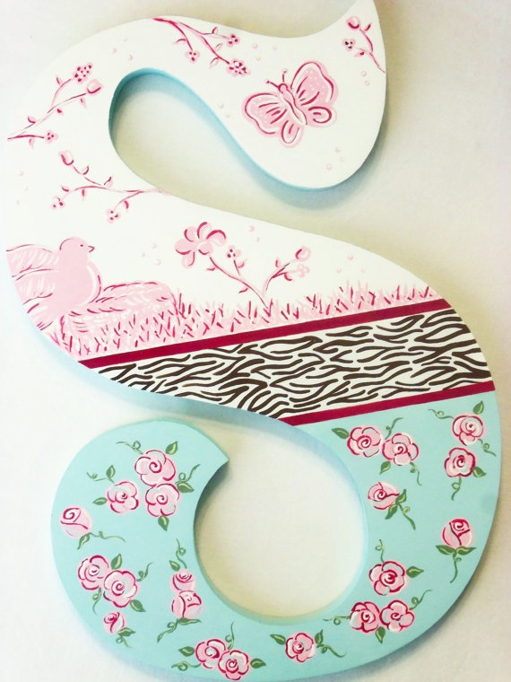 Custom  Hand Painted Decorative Wooden Wall Letters by PoshDots, $24.00