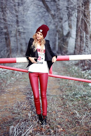 Get this look: http://lb.nu/look/8607711  More looks by Adriana M.: http://lb.nu/lilicons  Items in this look:  New Yorker  Red Faux Leather Pants, New Yorker  Black Jacket, New Yorker  Classic Beanie, Adidas Wedged Sneakers   #casual #sporty #street #streetstyle #lookbook #lookbooker #today #outfit #blogger