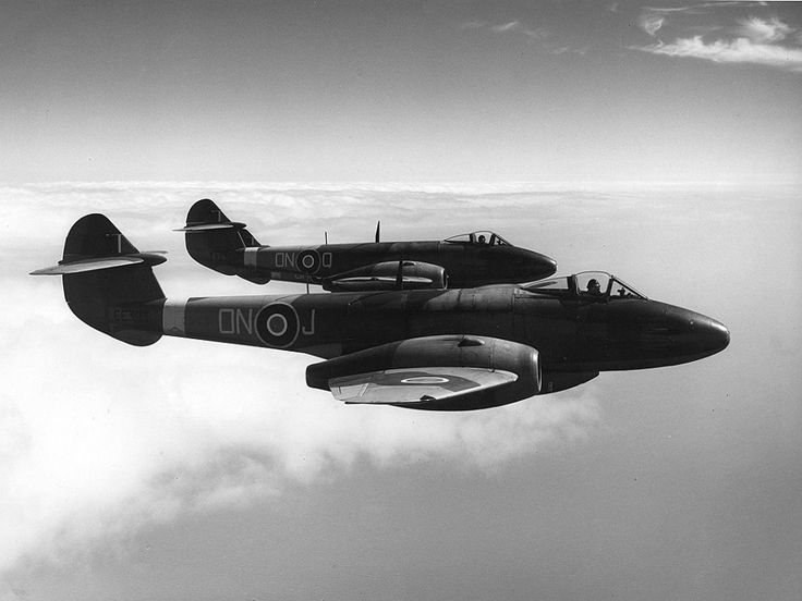 The Gloster Meteor was the first British jet fighter and the Allies' first operational jet aircraft during the Second World War. The Meteor's development was heavily reliant on its ground-breaking turbojet engines, pioneered by Sir Frank Whittle and his company, Power Jets Ltd. Development of the aircraft itself began in 1940, although work on the engines had been underway since 1936. The Meteor first flew in 1943 and commenced operations on 27 July 1944 with No. 616 Squadron RAF.