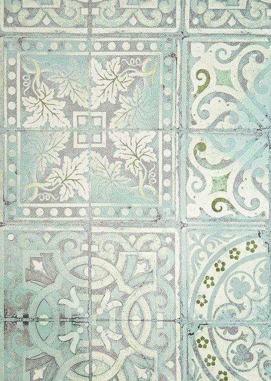 Paper Tiles Wallpaper Aqua, Green and White tiled effect wallpaper.
