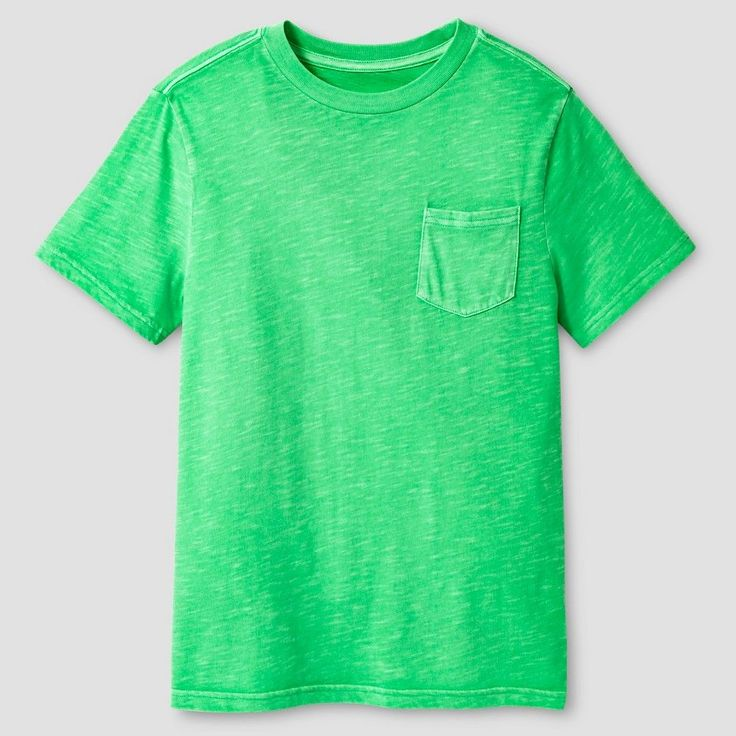 Boys' Garment Dyed Pocket T-Shirt - Cat & Jack, Boy's, Size: Medium, Green