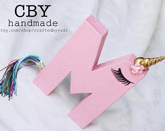 Letra de unicornio de 8 pulgadas o número monograma - brillo rosa / / decoraciones de fiesta de unicornio / / fiestas unicornio de suministros