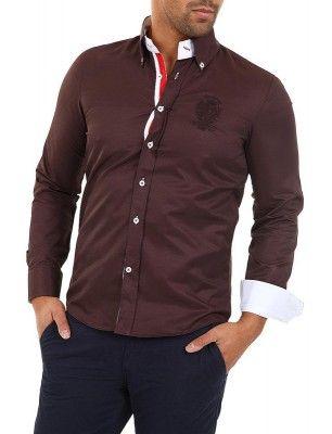 Camisa Carisma detalle logo university marrón