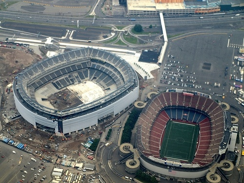 definately not a giants fan, but i do think this is a great phot  Old and new Giants stadium
