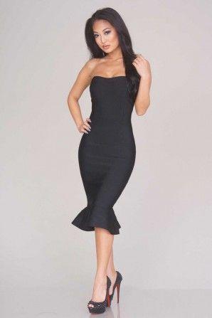 Novoa Strapless Black Bandage Dress