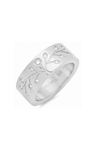 Stainless Steel & Simulated Diamond Tree of Life Ring