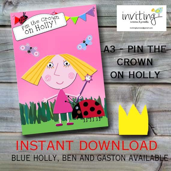 Pin the Crown on Holly Pink - Ben and Holly Party Game - Instant Download