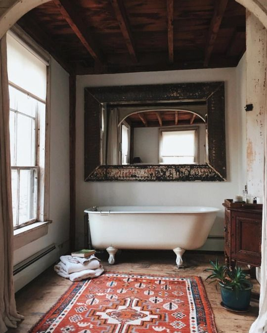 Tub and a rug - rustic style