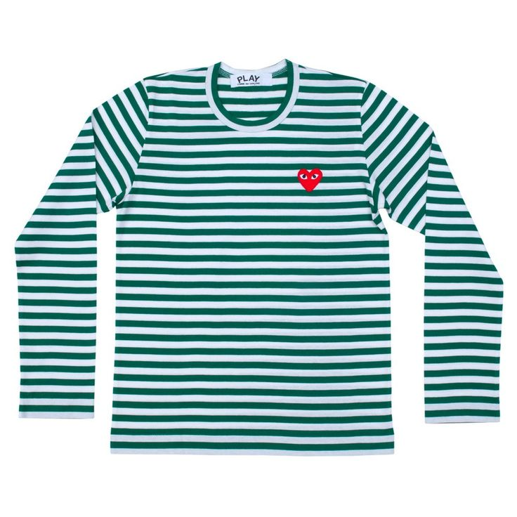 CDG, Play Striped L/S Tee (Green)