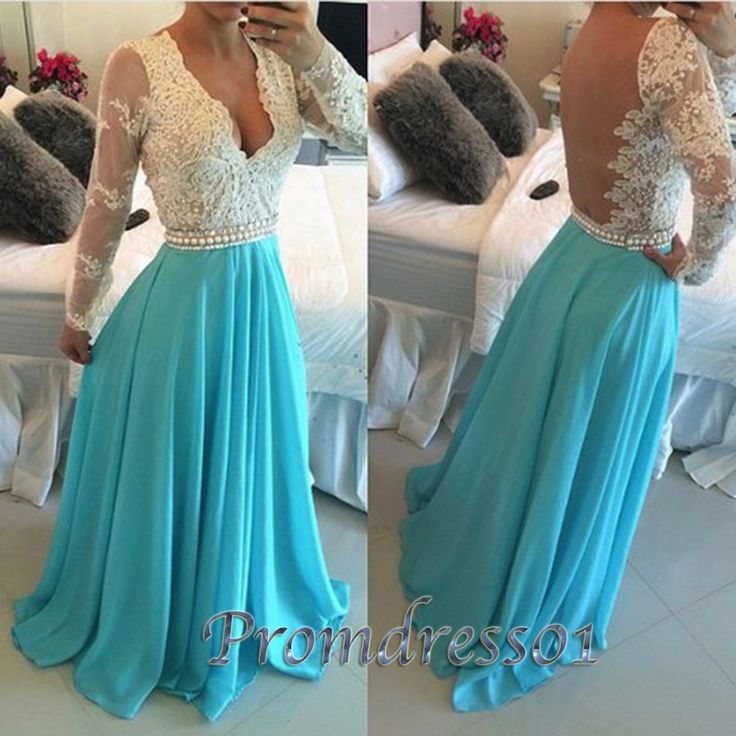 Elegant backless V-neck lace top green chiffon prom dress with sleeves, ball gown, prom dresses long #coniefox