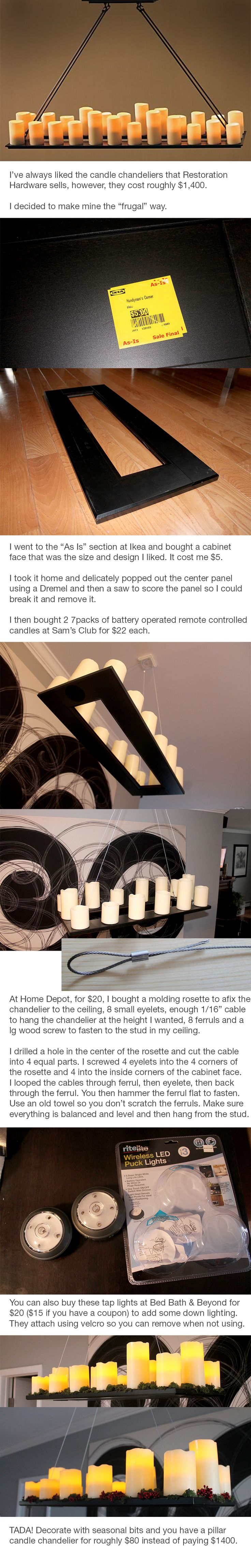 You can make this cool pillar candle chandelier for $80 instead of buying one from Restoration Hardware for $1400