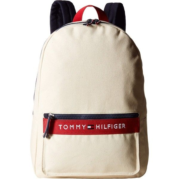 Tommy Hilfiger TH Sport - Core Plus Backpack (Natural/Navy/Red 1)... ($31) ❤ liked on Polyvore featuring bags, backpacks, beige, tommy hilfiger, day pack backpack, tommy hilfiger bags, embroidered bags and red backpack