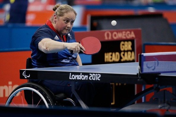 Sara Head of Great Britain competes against Hyun Ja Choi of the Republic of Korea on day 1 of the Table Tennis.