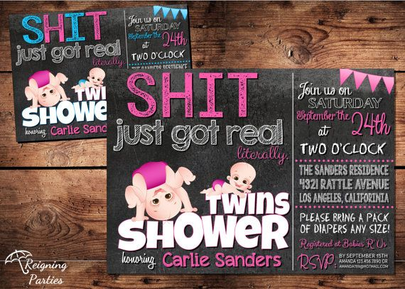 Sht just got Real Baby Shower Invitation Funny by ReigningParties