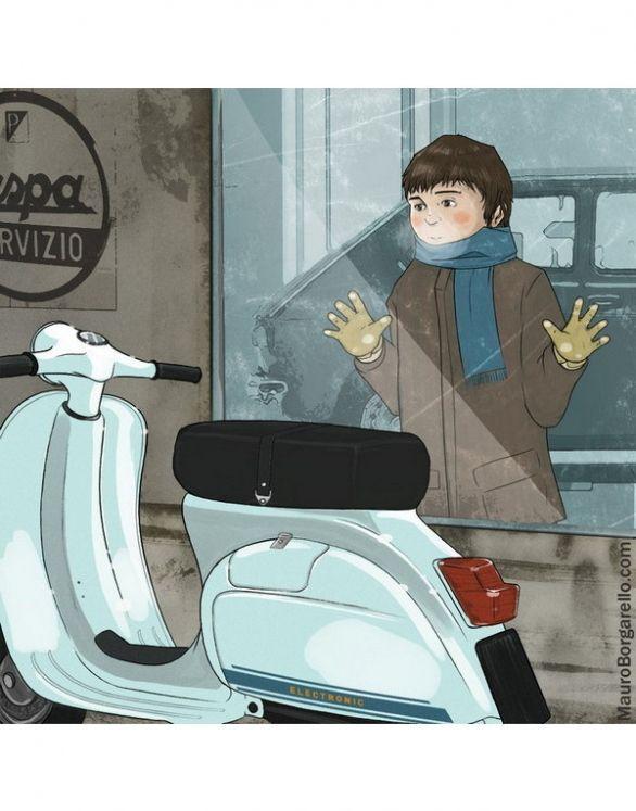 A lovely Vespa illustration by Mauro Borgarello