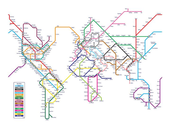 Metro map of the world
