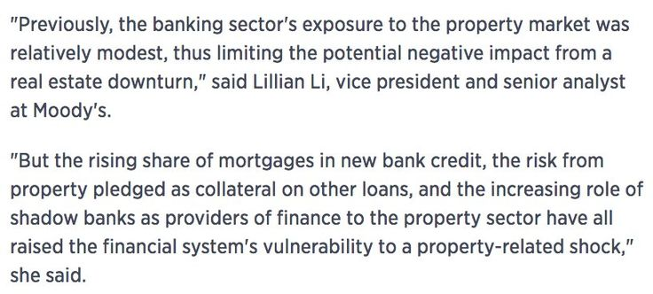 Moody's: China's banking sector more vulnerable to property-related shock due to rising exposure to property market cnb.cx/2nv3fPW#Sober Lookchinafinis#April 6 2017 at 07:52AM#via-IF