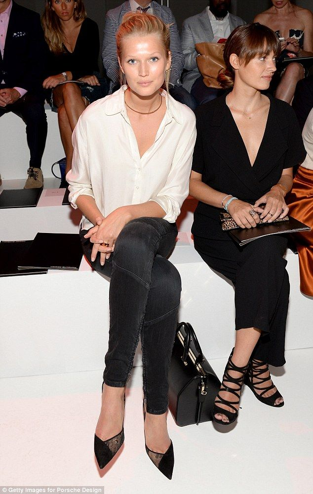 Toni Garrn looked chic in a pair of black skinny jeans at the Porsche Design show at New York Fashion Week http://dailym.ai/1pIfwJP #NYFW