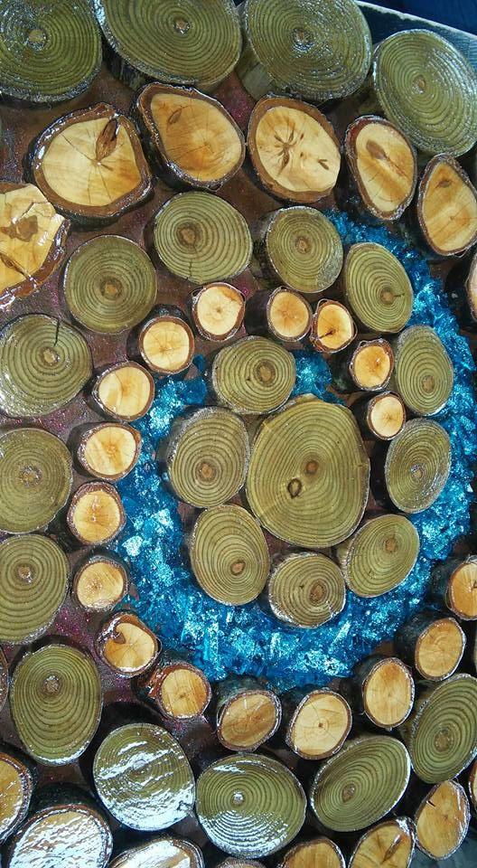 Arte della parete fetta di legno a spirale di WhimsyArtShack