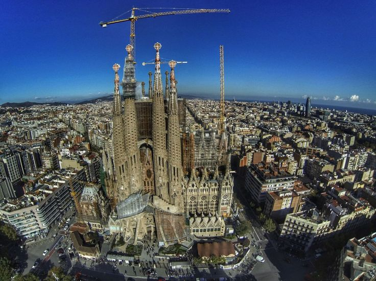 Photo de drone Sagrada Familia Barcelone. L'Obs