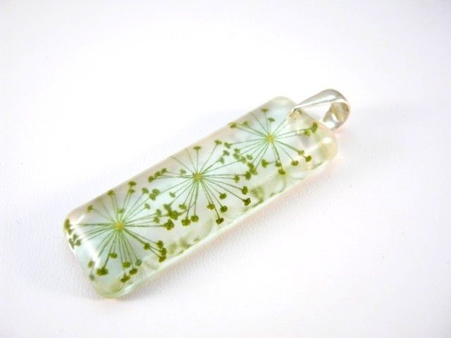 Pendants – Flowers of Dill preserved in resin.  –  a unique product by Jurka on DaWanda. http://en.dawanda.com/product/39185062-Anhaenger---Dill---925-Silber