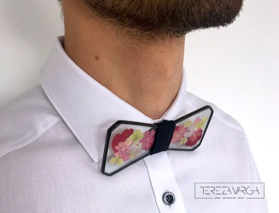 Glass bow tie Mixed flower bow tie Herbarium by terezavarga